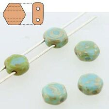 Turquoise Picasso 30pc 6mm 2-Hole Czech Glass Honeycomb Beads