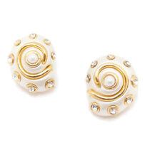 Clip On Earrings Kenneth Jay Lane White Shells Swarovski Crystals Pearl Center