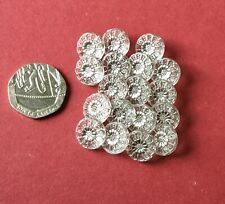 20 Vintage Glass Buttons - Small Flower Shaped- Silvered Centres- Weddings?