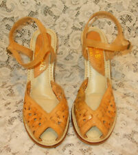 Vtg Brazil Woven Tan Leather Faux Stacked Wood Wedge Heel Sandals~7