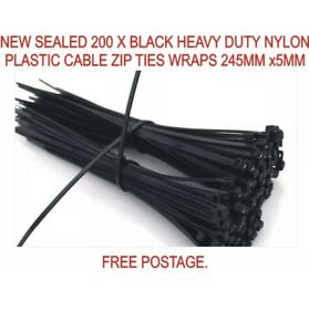 PACK OF 200 BLACK QUALITY HEAVY DUTY NYLON PLASTIC CABLE TIES ZIP TIE WRAPS DIY
