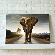 75*50cm Canvas Prints Modern Wall Art Picture-Elephant Wall On Road