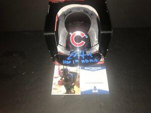 Ed Howard Cubs Signed CHROME Mini Helmet Beckett WITNESS COA 2020 1st Rd Pick