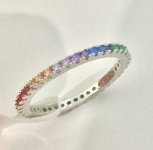 Platinum Sterling Silver Rainbow Sapphire Thin Eternity Band Ring Size 8 Gift
