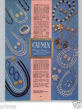 1966 PAPER AD 4 PG Costume Jewelry Carmen Karen Lynne Richelieu Cizanne