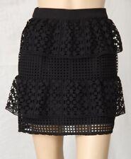 KOOKAI Size 36 Black Geometric Lace Layered Mini SKIRT Back Zip