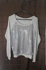 NEW YORK & COMPANY Gray Sequin 3/4 Sleeve Top Size M
