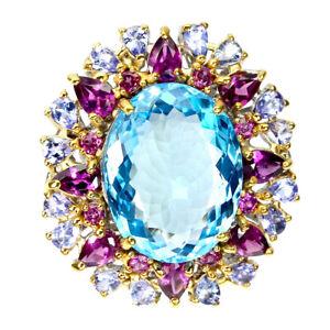 Handmade Oval Swiss Blue Topaz 25 Ct Garnet Tanzanite 925 Silver Big Ring Size 9
