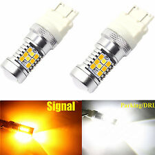 2x 3157 4157NA 28SMD LED Switchback White Yellow Turn Signal DRL Light Projector
