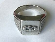 BEAUTIFUL AIRBORNE PARATROOPER RING SIZE 10  STERLING SILVER