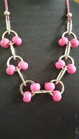 PINK Large Chunky Big Plastic Beads Light Gold Tone Link Statement Necklace