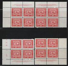CANADA - #314 - 3 PENNY BEAVER PLATE #1 BLOCKS SET MNH STAMP CENTENARY