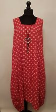 LaGeNLooK Italian POLKA DOT Quirky BALLOON Shape BOHO Tulip SPOT LINEN Dress 52""