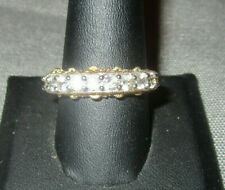 925 Silver (Sterling) Vermeil Ring Crystal Accents Size 10