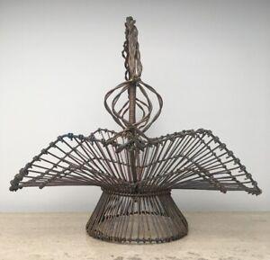 Antique Victorian Handmade Copper Wire Basket, Flower Container