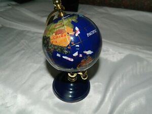 """Mini Stone Inlay World Globe - Approximately 6"""" Tall"""