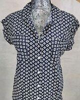 Jachs Girlfriend Women's Top Button Down Short Cap Sleeve Black Size Small