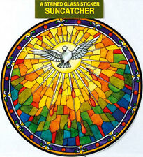 HOLY SPIRIT STAINED GLASS SUN CATCHER STICKER - STATUES CANDLES PICTURES LISTED