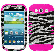 Zebra Print Diamond w/ Hot Pink Impact Case Cover for Samsung Galaxy S 3 III S3