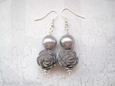 DUSKY GREY 3D ROSE PEARL Silver Plated Drop Earrings Gothic Gift Bag Rockabilly