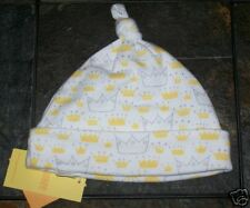 NWT 6-12 Months Gymboree *I RULE* Knotted Cuffed BEANIE Hat White Yellow CROWNS