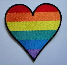 RAINBOW HEART LOVE GAY LGBT PRIDE Embroidered Iron on Patch Free Postage