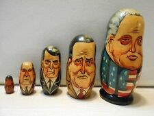 VINTAGE 1990 SET OF 5 Presidential Nesting Dolls Wooden Colorful Collectible Egg