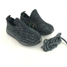 F1 Toddler Boys Sneakers Knit Light Up Lace Up Gray Black Size 21 US 5