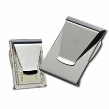 Clamp Card Holder Double Sided Cash ID Slim Stainless Steel Money Clip Wallet
