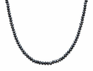 Certified Natural 15.00ct Cut Black Diamond Bead Necklace 20 Inches