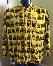 Vintage 90s Esprit Sport Shirt LARGE L yellow US Capital Buildings Handstands
