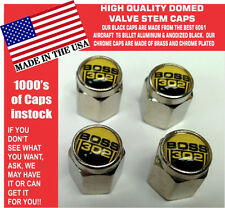 Chrome Ford Boss 302 5.0 Yellow Coyote Mustang Cobra Shelby GT Valve Stem Caps