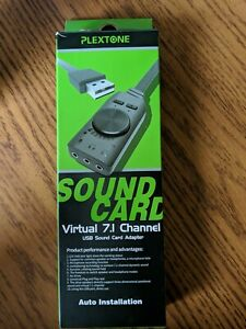 Plextone GS3 Virtual 7.1 Channel USB Sound Card Adapter - New in Open Box