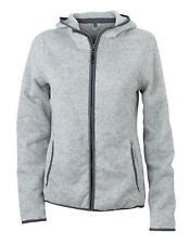 Damen Kapuzen-Jacke aus Strick-Fleece in Melangeoptik | James+Nicholson