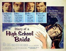 DIARY OF A HIGH SCHOOL BRIDE 1959 Anita Sands Ronald Foster US HALF SHEET POSTER