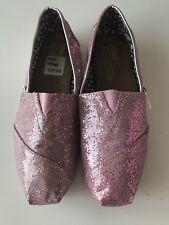 Toms -Ladies Glitter Original Slip On Flat Shoes Sandals Size 7.5 Pink