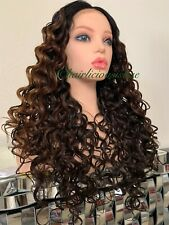"Golden Brown lace front wig Kinky Curly Wavy Layered  Heat  Ok 24"" Inch Long"