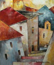 Original Prague Oil painting Wall art Deco On Canvas knife Hand Painted prg024
