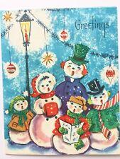 Angels Actn Vtg Xmas Mcm Shiny Brite Snowman Family Anomorphic Choir Caroling