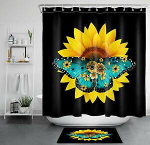 Sunflower Flower Butterfly Shower Curtain Black Background For Bathroom Decor