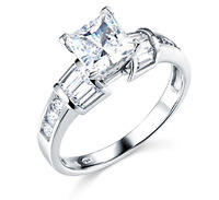 2.50 Ct Princess Baguette Round Cut Engagement Wedding Ring Solid 14K White Gold