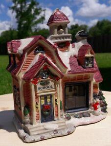 "East West Distributing Christmas Village Porcelain School House 8"" high x 8""wide"