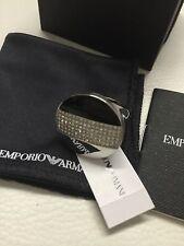 NIB Emporio Armani St Steel Blk Enamel/Crystals Ladies Ring Size 8 EGS 1773040