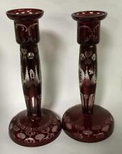 Pair Of Ruby Cut To Clear Glass Candle Sticks Lot 3080