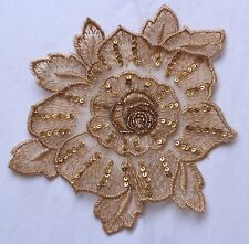"""Beaded Appliques - Lace - Beige 5 1/2"""" -Glass Beads & sequins"""