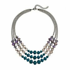 NEW! SIMPLY VERA WANG Turquoise, Clear & Aurora Purple Beaded Necklace FREE SHIP
