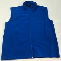 Snozu Zip Up Sweater Vest Men's 2XL XXL Sleeveless Blue Logo Polyester Blend