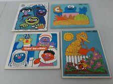 Lot of 4 Vintage 1970's Toddler Playskool Sesame Street Wooden Puzzles