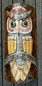 Hand carved & painted Owl wall hanging home or garden ornament wood carving 35cm