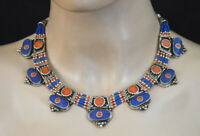 Asian Ethnic Sterling Silver Necklace Tribal Handmade Coral Lapis Jewelry SAK8
